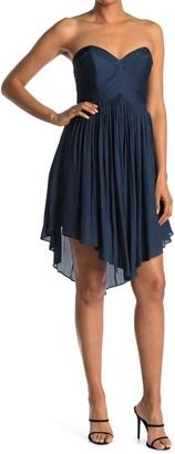 Halston Strapless Pleated Dress