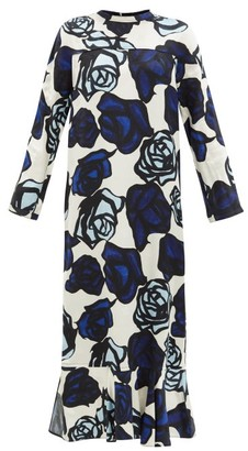 Marni Floral-print Satin-jacquard Maxi Dress - Ivory Multi