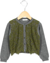 Dolce & Gabbana Girls' Wool Lace-Paneled Cardigan
