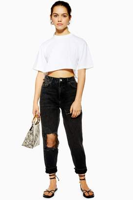 Topshop Womens Petite Willow Ripped Mom Jeans - Washed Black
