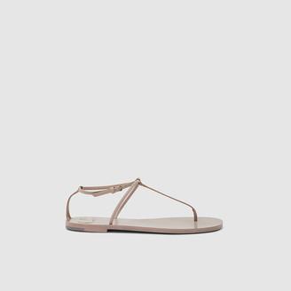 Valentino Beige Rockstud Flat Leather Sandals Size IT 36.5