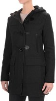 Cole Haan Hooded Duffle Wool Blend Coat - Leather Trim (For Women)