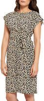 Jaeger Silk Leopard Print Wrap Dress, Ivory/Black