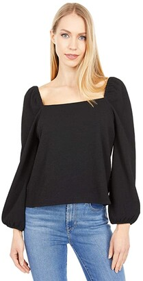 Madewell Crepe Square-Neck Puff-Sleeve Top (True Black) Women's Clothing