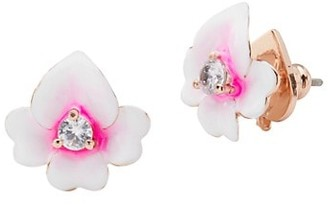Kate Spade Precious Pansy Cubic Zirconia & Enamel Flower Stud Earrings