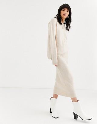 Asos Design DESIGN co-ord skirt in fluffy yarn-Yellow