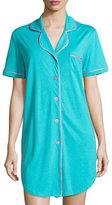 Cosabella Bella Short-Sleeve Sleepshirt, Blue/Pink
