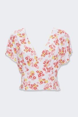 Forever 21 Floral Smocked V-Neck Top