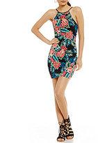 B. Darlin Tropical Floral Print Lace Up Open Back Sheath Dress