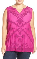 Lucky Brand Embroidered Sleeveless Shell (Plus Size)