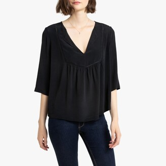 La Redoute Collections Loose Fit Peasant Blouse with 3/4 Length Sleeves