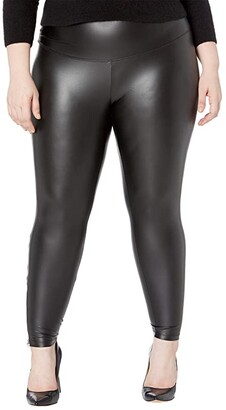 Yummie Plus Size Signature Waistband Faux Leather Leggings with Zipper (Black) Women's Casual Pants