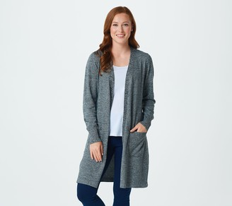 Denim & Co. Petite Marled Long-Sleeve Open-Front Cardigan