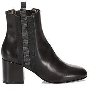 Brunello Cucinelli Women's Lissato Leather City Heel Boots