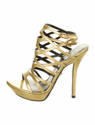 Versace Patent Leather Gladiator Sandals Gold