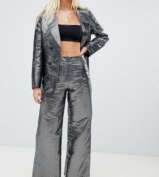 N. Ebonie Ivory ebonie ivory wide leg trousers in metallic jacquard co-ord-Silver