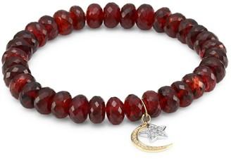 Sydney Evan Two-Tone 14K Gold, Red Garnet & Diamond Moon Star Charm Beaded Bracelet
