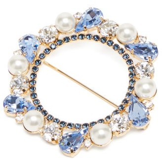 Erdem Crystal And Faux-pearl Brooch - Womens - Blue