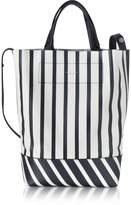 Rag & Bone White and Navy Blue Striped Leather Walker Convertible Tote Bag