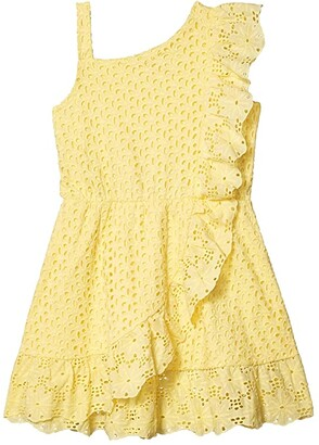 BCBG Girls Cotton Eyelet One Shoulder Scallop Ruffle Dress (Big Kids) (Pale Bananna) Girl's Clothing