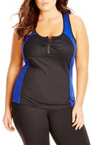 City Chic Plus Size Women's Zip Front Racerback Tank