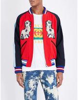 Gucci Twin Dog-print Wool Bomber Jacket