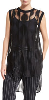 DKNY Sleeveless Sheer Patterned Tunic, Black