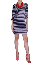 Button Tab Striped Dress