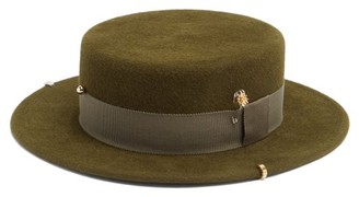 Ruslan Baginskiy Studded Felt Boater Hat - Khaki