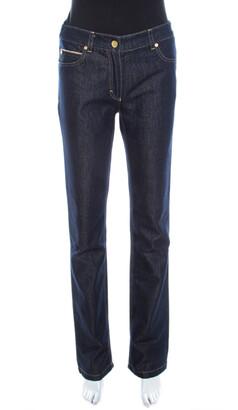 Escada Navy Blue Glitter Denim High Rise Straight Leg Jeans S