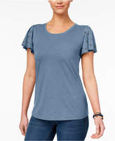 Style&Co. Style & Co Studded Flutter-Sleeve T-Shirt, Created for Macy's