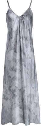 Vince Gathered Tie-dyed Silk-satin Midi Dress