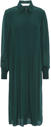 See by Chloe Pleated Silk Crepe De Chine Midi Shirt Dress