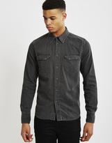 Nudie Jeans Jonis Worn Shirt Black