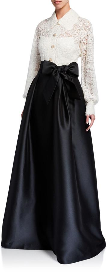 Rickie Freeman For Teri Jon Premier Shirt Collar Lace Top Gown w/ Jewel Buttons & Silk Pique Skirt