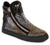 Giuseppe Zanotti Sequined Leather High-Top Sneakers