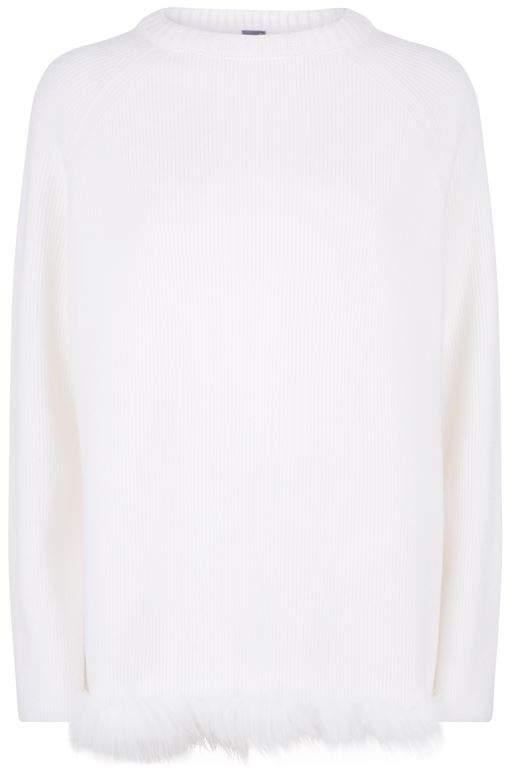 Lorena Antoniazzi Fox Trim Cashmere Sweater