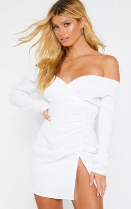 Bardot Paradis White Ruched Detail Blazer Style Dress