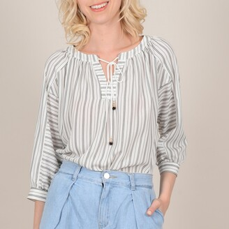 Molly Bracken Tie Neck Loose Fit Blouse with 3/4 Length Sleeves