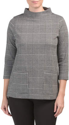 Plaid Mock Neck Tunic With Pockets