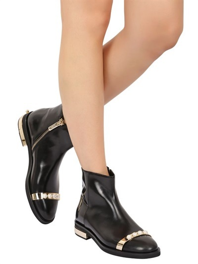 20mm Pearls Metal Bar Leather Boots