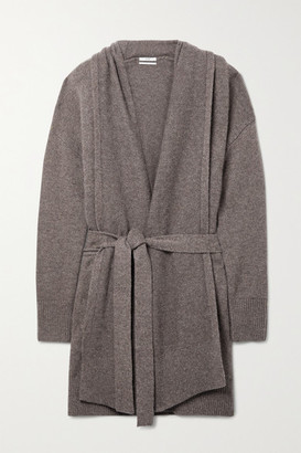 Co Belted Wool And Cashmere-blend Cardigan - Brown