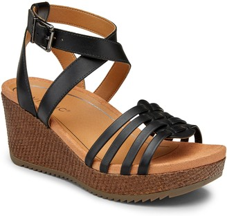 Vionic Leather Platform Sandal Wedges - Clarisa