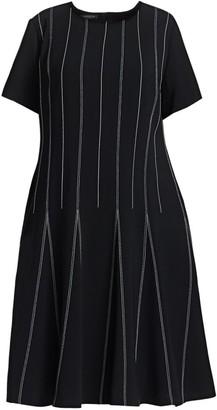 Lafayette 148 New York, Plus Size Malita Drop Waist Striped Dress