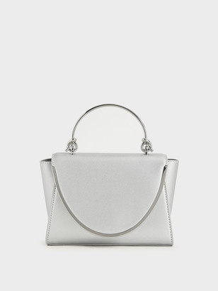 Charles & Keith Metallic-Trimmed Front Flap Bag