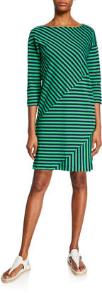 Joan Vass Mini Striped Boat-Neck 3/4-Sleeve Cotton-Interlock Dress