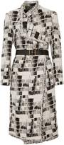 Donna Karan Belted jacquard coat
