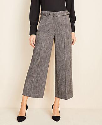 Ann Taylor The Tall Belted Wide Leg Marina Pant in Herringbone