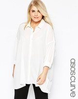 Asos Sheer and Solid Oversize Blouse