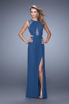 La Femme 21191 Sheer Lace Inlay Sheath Gown